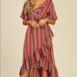 Striped Rust Wrap Dress